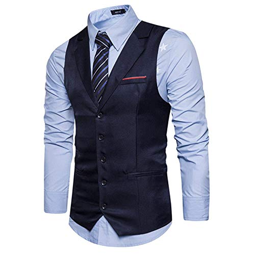 Business Retro Veste Blazer Homme Col V Costume Marine Mariage Slim Tuxedo Gilet Fit wfHqI1WxBW