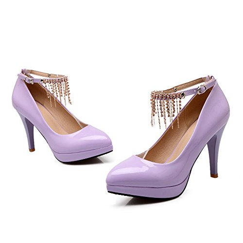 Heels High PU VogueZone009 Solid Pumps Shoes Women's Purple Buckle Toe Pointed Closed nwYw7XxSHq