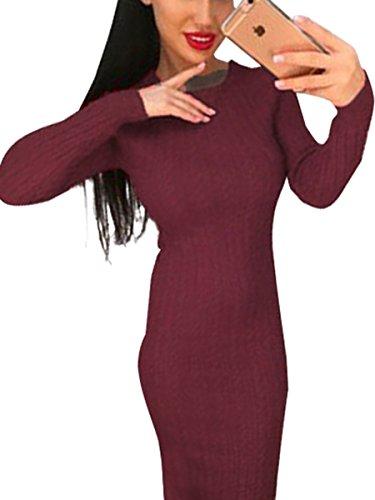 Berrygo Ras Du Cou Des Femmes Manches Longues Midi Moulante Tricotée Robe Sexy Hiver Violet