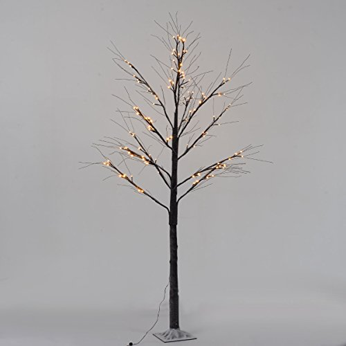 Goplus Birch Lighted Tree LED Floor Lamp Warm White for Christmas Tree, Party, Wedding, and Festival Deoration Brown (8Ft 144Led) (Floor Plant Tree)
