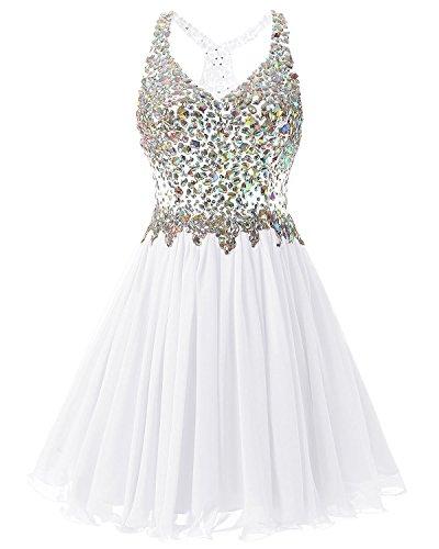Fanciest Women's Beaded 2016 Prom Dresses Short Bridesmaid Homecoming Dress White US8