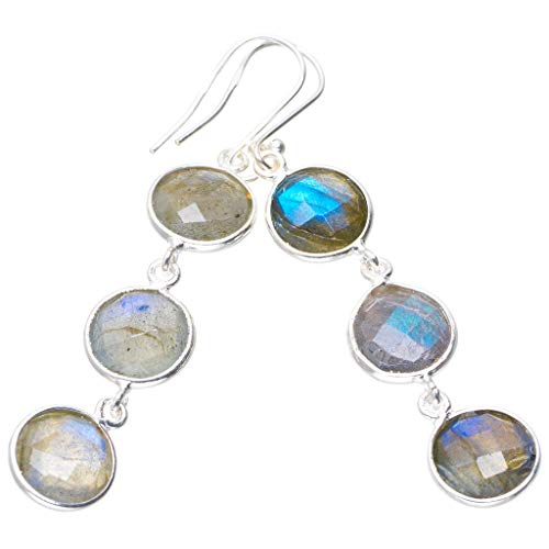 Natural Blue Fire Labradorite Handmade Unique 925 Sterling Silver Earrings 2.5