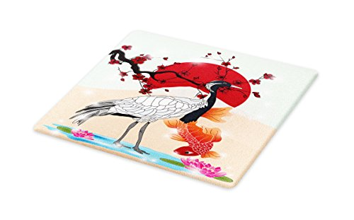 Lunarable Koi Fish Cutting Board, Japanese Culture Inspired Crane and Sea Animals with Sakura Branch Asian Artwork, Decorative Tempered Glass Cutting and Serving Board, Large Size, Multicolor by Lunarable