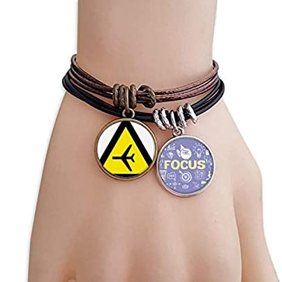SeeParts Warning Symbol Yellow Black Plane Triangle Bracelet Rope Wristband Force Handcrafted Jewelry Estimated Price £9.99 -