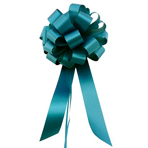 Teal Pull Bows with Tails - 8 Wide, Set of 6