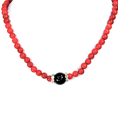 Red Coral Round Beads with Onyx Pendant Necklace & Silver Tone Clasp 18