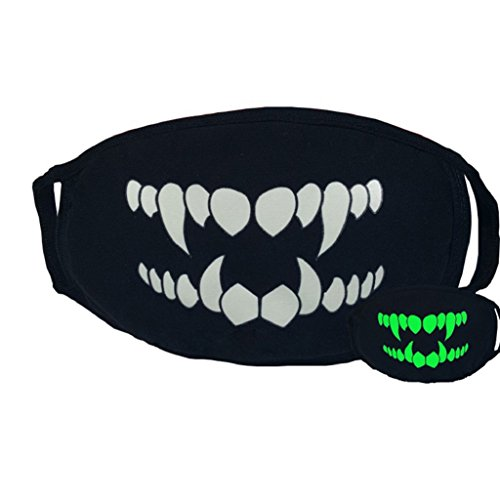 Fang Mask (Fengzhicai Fashion Unisex Party Cosplay Outdoor Cool Luminous Anti Dust Cotton Mouth Mask (Fangs))