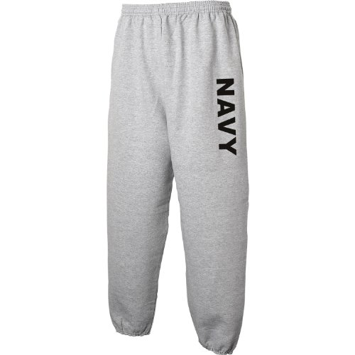 NAVY Sweat Pants - Military Style Physical Training Sweat Pants in Gray - Large