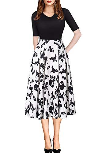 ECOLIVZIT Business Elegant Dress Knee Length with Sleeves for Women Spring Summer Fall Mid Dress Black M