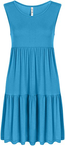 USA Sleeveless Shirt for Turquoise Women T Tiered Sundress Summer Casual Dresses ZqwU8nv