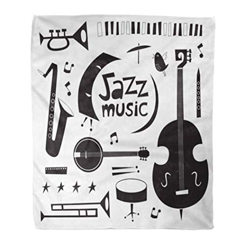 Emvency Throw Blanket Warm Cozy Print Flannel Jazz Musical Instruments Vintage Cartoon in Black and White Comfortable Soft for Bed Sofa and Couch 60x80 Inches