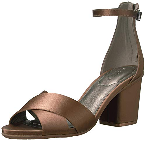 Kenneth Cole REACTION Women's Reed Forever Two Piece Strappy Sandal with Ankle Strap and Block Heel-Satin Dress, Mink, 7.5 M US