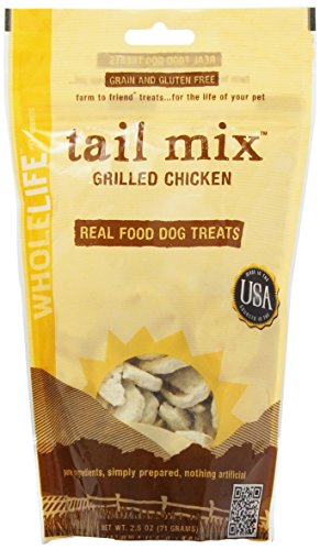 Whole Life Pet Tail Mix Real Food Treats for Dogs-Grilled Chicken, 2.5oz