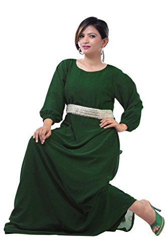 Dubai Very Fancy Kaftan Luxury Crystal Beaded Caftan Abaya Wedding Dress (XXXXL Dark Green) by Leena
