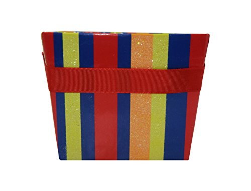 Party Pails with Grosgrain Ribbon Handle: Party Favors, Gift Bags & Containers for a Birthday Party or Holiday Gift: 6 Pack of Square Glitter Boxes for Candy, Snacks & Other Small Items: Stripes Theme