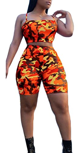 XQS Women Camouflage 2 Piece Outfits Spaghetti Strap Crop Tops + Short Pants Orange (Suede Outfit)