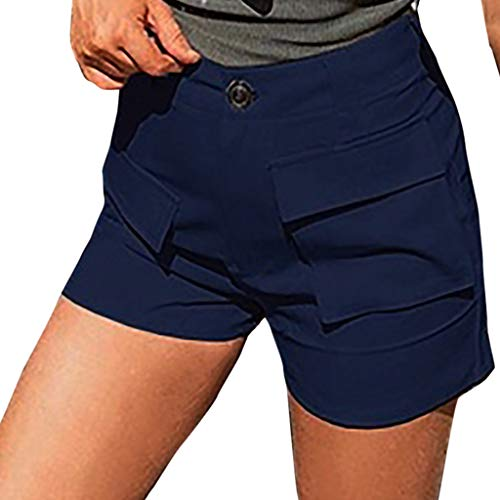 (Shorts for Women Casual,Dainzuy Sexy High Waist Short Pants Pockets Casual Beach Plus Size Summer Button Trouser Blue)
