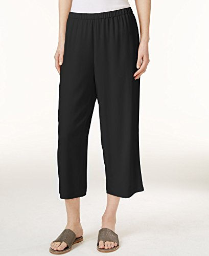 Eileen Fisher SYSTEM Silk Crepe Cropped Pants, Regular Pe...
