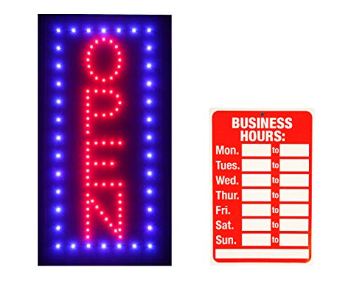 LED Neon Open Sign Vertical Light Electric Display by ENLIGHTENED SIGNS with 2 Flashing Modes and Business Hours Sign for Bars, Shops, Windows Walls (19 x 10 in)