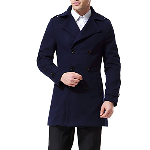 Men's Trenchcoat Double Breasted Overcoat Pea Coat Classic Wool Blend Slim Fit (X-Small, Navy Blue)