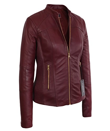 13352d4406f1 Corbani Womens Moto Burgundy Lambskin Real Leather Jacket (Large