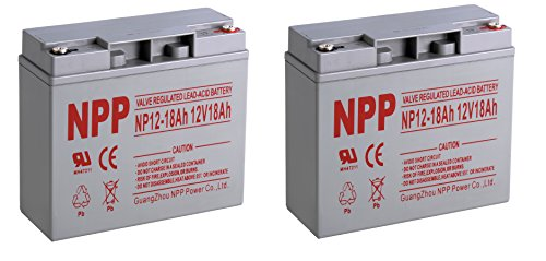 NPPower 12V 18Ah Sealed Lead Acid Battery Button Style Terminals / 2 Pack