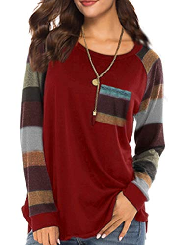- PINSV Womens Tops Long Sleeve Casual T Shirts Striped Round Neck Loose with Pocket Red XL