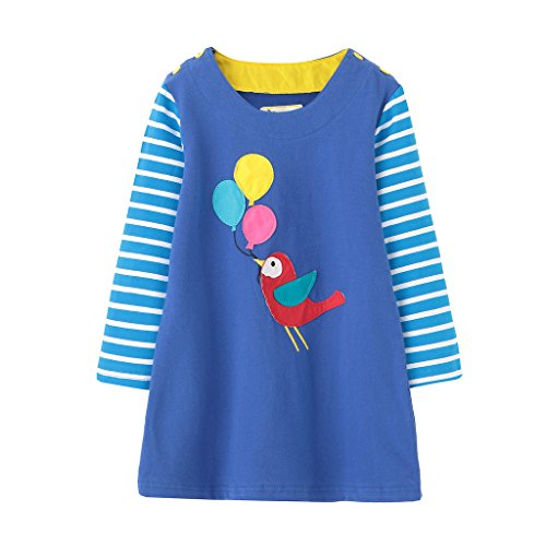 Girls Cotton Longsleeve Casual Dresses Applique Cartoon by Fiream