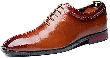 WMZQW Zapatos de Negocios Vestido Smoking Hombres Clásicos Cuero Zapatos de La Oficina Brogue Zapatos de Caballero Negro Vino Amarillo 37-48