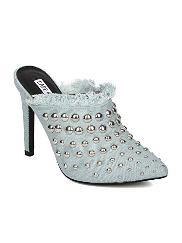 CAPE ROBBIN Women Studded Stiletto Mule - Stiletto Heel Slide - Pointy Toe Mule - HK86 by Denim (Size: 10) (Heel Denim Mule)