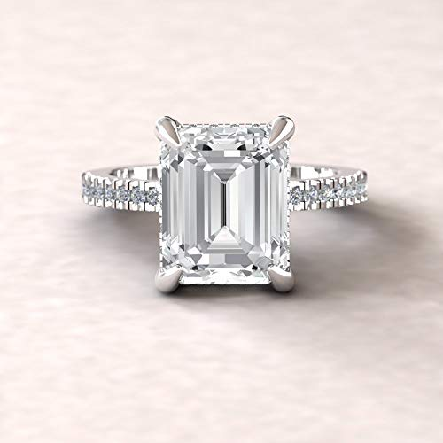 (Forever One Moissanite Engagement Ring- 10x8mm Emerald Solitaire