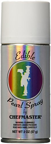 Chefmaster Edible Spray, One 2-Ounce Can. Kosher Certified - Pearl - Edible Silver Pearls