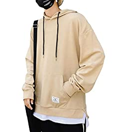 Men's Relaxed-Fit Casual Solid-Colored Sweatshirt Hoodie