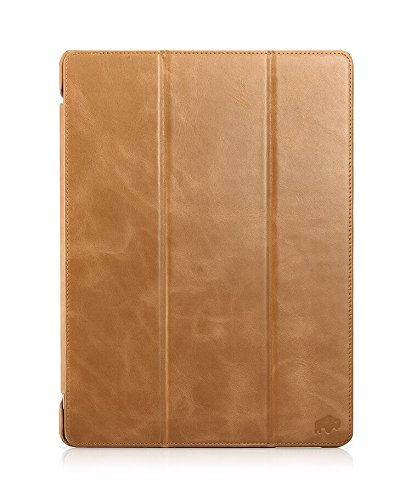 Burkley Premium Leather Smart Folio Case for NEW Apple iPad Pro 12.9'' (2017) | Handmade Leather with waterproof interior | Khaki by Burkley Case