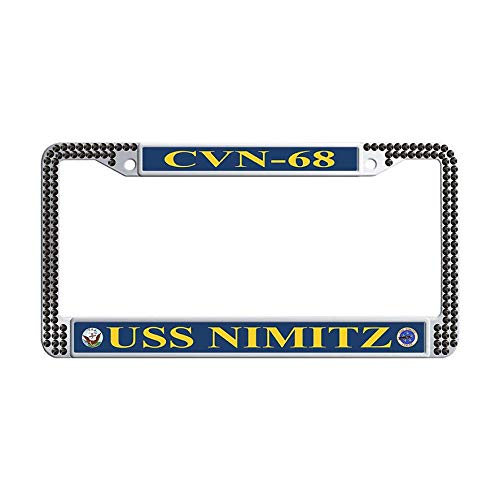 Hensonata Sparkle Bling Black Rhinestone USS Nimitz CVN-68 License Plate Covers, Funny Waterproof Slim Design Metal Stainless Steel Glitter Crystal License Cover Holder with Crystal Screw Caps -