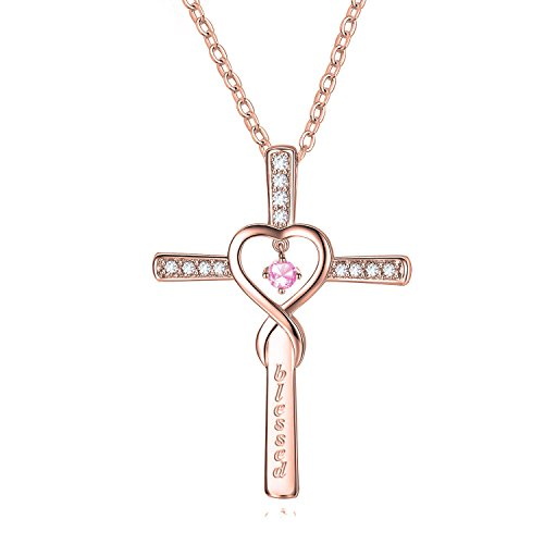 KUIYAI Infinity Cross Blessed Necklace with Birthstone God Cross CZ Pendant Gift for Her (LT Amethyst-June)