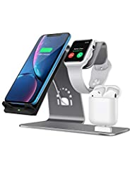 Description 3 IN 1 Qi-Charging stand in Be stand TI-mingle series. Color: Grey Material: Aluminum alloy material and high-quality rubber. Size: 7. 20*2. 71*5 inch Policy One year free . Features: 1. 3 in 1 design: Qi charging stand, Apple Wat...