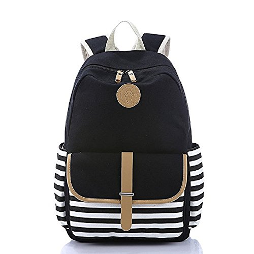 Price comparison product image Dukars Unisex Canvas Classic Water Resistant School Rucksack Travel Backpack (Black)