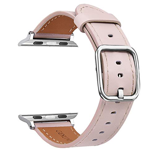 V-MORO Band for Apple Watch Bands 38MM 40MM Women, Soft Genuine Leather iWatch Band Replacement Bracelet Strap with Special Stainless Steel Buckle for Apple Watch Series 4/3/2/1 Sport 38/40 Pink