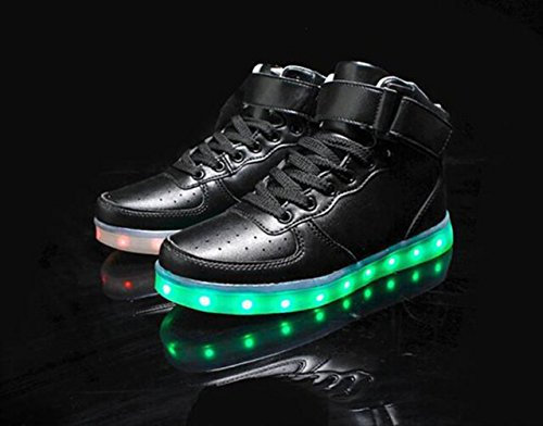 (Present:small towel)JUNGLEST® Unisex High Top USB Charging LED Sport Shoes Flashing Sneakers Black Df9M3