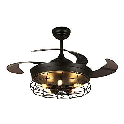 One Lighting 36 Inch Industrial Retractable Fan with Light and Remote Vintage Cage Chandelier Ceiling Fandelier for Bedroom Farmhouse Dining Room