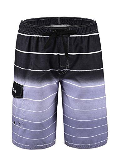 (Nonwe Men's Beachwear Quick Dry Holiday Drawstring Striped Swim Trunks Gray 32)
