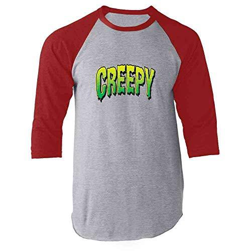 Creepy Retro Comic Text Halloween Costume Horror Red 3XL Raglan Baseball Tee Shirt -