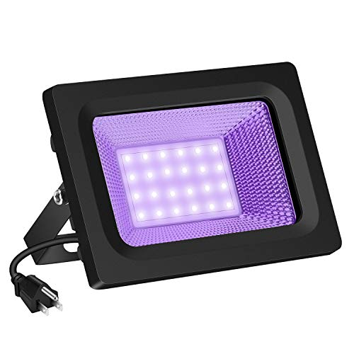 (SAYHON UV LED Black Light Flood Light Bulb, 30W Ultra Violet UV LED Flood Light IP66 Waterproof Stage Light for Blacklight Party, Neon Glow, Glow in The Dark, DJ Disco Club, Fishing, Aquarium, Curing )