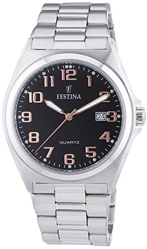 Festina F16374/8 – Reloj analógico de cuarzo para hombre con correa de acero inoxidable, color plateado