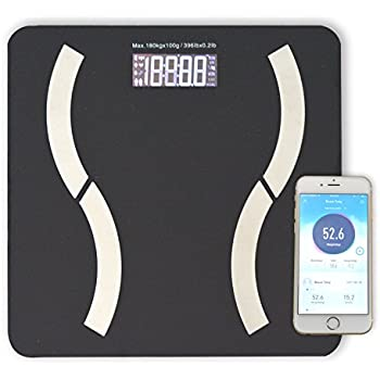 HoooWooo Bluetooth Body Fat Bathroom Scale with Tempered Glass Platform, 9  Body