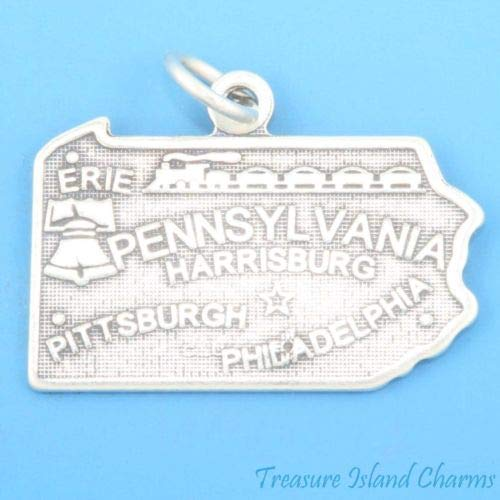 Pennsylvania State Map 925 Sterling Silver Charm Pittsburgh Philadelphia Erie Crafting Key Chain Bracelet Necklace Jewelry Accessories -