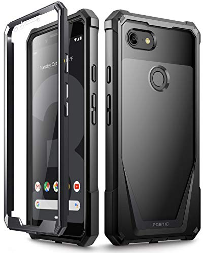 Google Pixel 3 Case, Poetic Guardian [Scratch Resistant Back] Full-Body Rugged Clear Hybrid Bumper Case with Built-in-Screen Protector for Google Pixel 3 Black