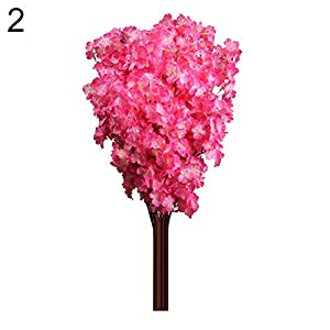 WskLinft 1 Bouquet 3 Branches Cherry Blossom Silk Artificial Flowers Home Wedding Decor - Dark Pink 110