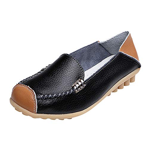 ONLY TOP Women's Natural Comfort Walking Flat Loafer Black